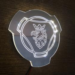 Светящийся логотип SCANIA зеркальное серебро